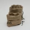 2 Utensilos / Säckchen aus 4teiligem Verpackungsset für Geschenke aus Kaffeesack